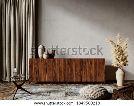 Gray interior with dresser and decor. 3d render illustration mockup.