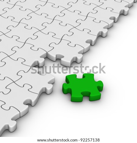 gray jigsaw puzzles with one green piece