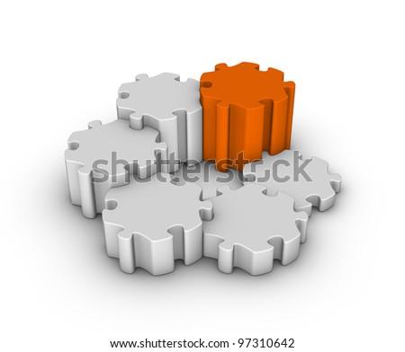 gray jigsaw puzzles with one orange piece