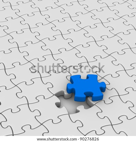 gray jigsaw puzzles with one red piece