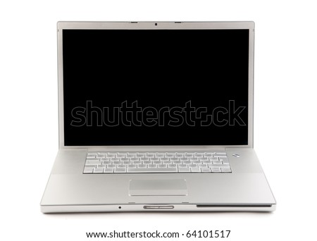 Gray laptop with white background