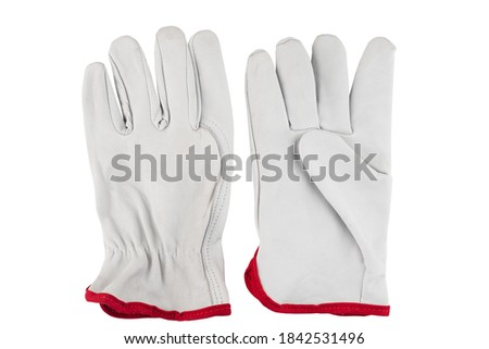 gray leather gloves for work. work gloves on white isolated background Stock photo ©
