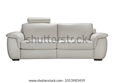 Gray leather sofas for two seats in loft style. #1013983459