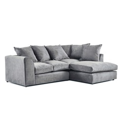 Gray Low Back Right Corner Sofa Isolated on White. Front Side View Upholstered Sofa Bed. Loveseat with Armrests and Seat Cushion. Seater Couch with Accent Scatter Pillows and Large Bolster Cushions