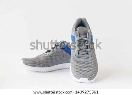 gray men's sneakers on a white background #1439275361