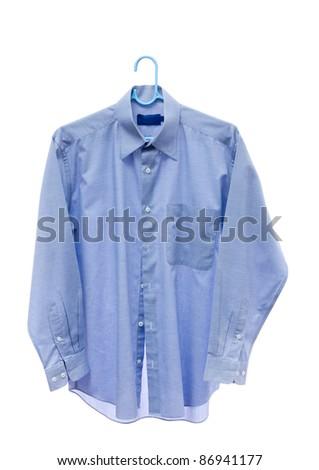 Gray men shirt on hanger isolated on white