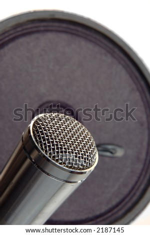 gray mic with speaker on background