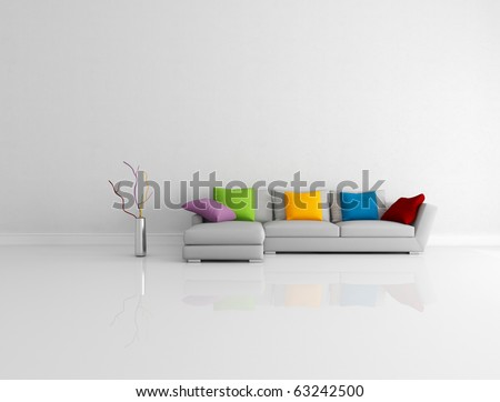 gray modern couch with  pillow in a bright empty living room - rendering