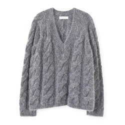 Gray Mohair Knit V-Neck Sweatshirt Isolated on White. Woman's Long Sleeves Cashmere Oversized Cable Turtleneck. Modern Lady Wool Sweater Front View. Beauty & Fashion. Jerseys Clothing Garment Apparel