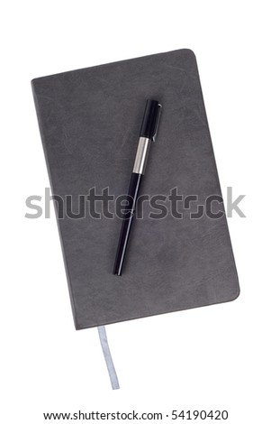 Gray notebook with pen - stock photo