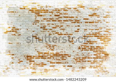 Gray orange bricks wall pattern ,watercolor digital painting style