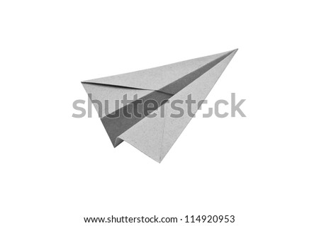Gray Paper aircraft, Paper Plane on a white background,