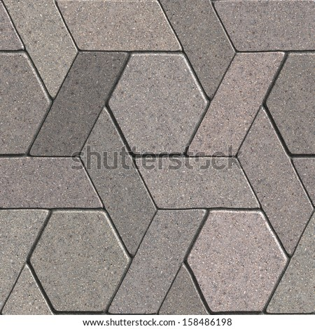 Gray Pavement Consisting of Combined Quadrangle and Hexagons. Seamless Tileable Texture.