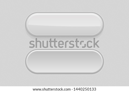 Gray plastic buttons. 3d oval signs. 3d illustration. Raster version #1440250133