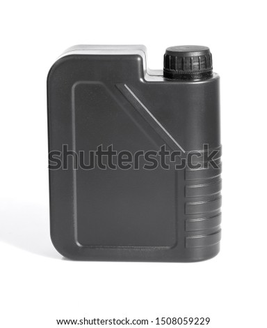 gray plastic canister for lubricants without label, chemical container isolated on white #1508059229