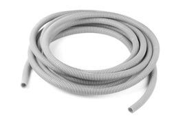 Gray plastic corrugated tube isolated on white
