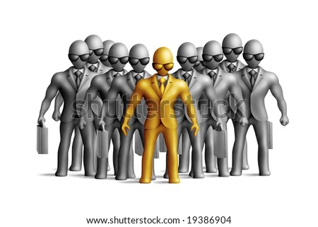Gray plasticine businessmen figures on a white background