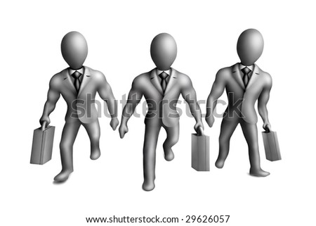 Gray plasticine figures of businessmen on a white background