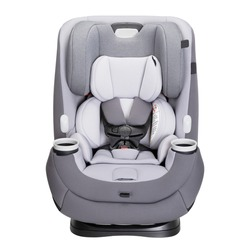 Gray Reclining Baby Carrier Isolated on White Background. Front View of Car Child Safety Seat. Modern Restraining Car Seat with Side Impact Protection. Travel Gear. Infant Restraint System