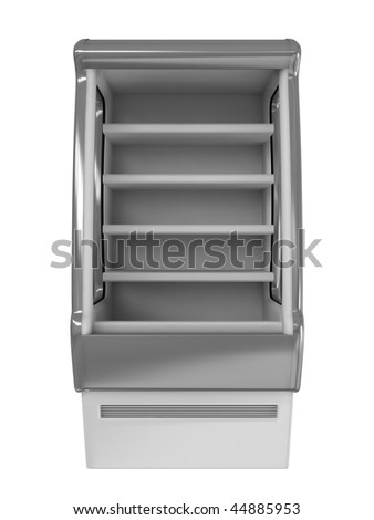 Gray refrigerator isolated on white