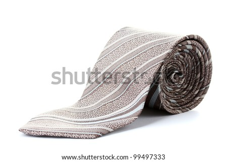 gray rolled tie isolated on white