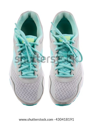 Gray running shoes, isolated on white background