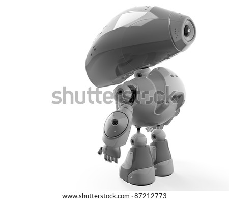 Gray scale robotic figurine backward