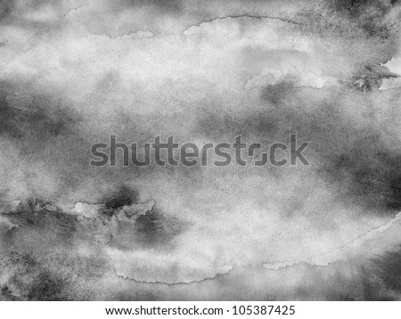 Gray-scale watercolor texture. Abstract aquarelle background. Handmade technique wallpaper.