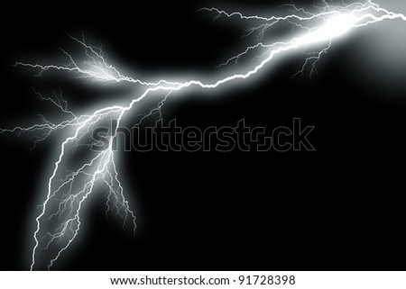 Gray-scaled picture of a lightning bolt on a black background