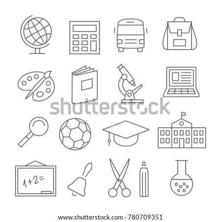 Gray School and Education Line Icons on white background