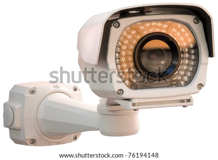 Gray security camera isolated with clipping path