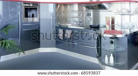 gray silver kitchen modern interior design house decoration - stock photo