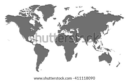 Gray similar world map blank for infographic isolated on white background #411118090
