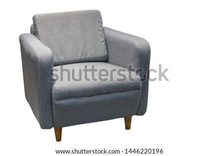 Gray single sofa in modern style isolated on white. #1446220196