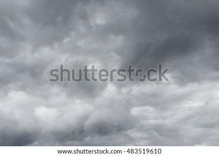 Gray sky, rain. Thunderclouds over horizon, dark, gray. #483519610