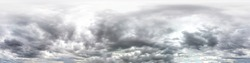 gray sky with rain clouds. Seamless hdri panorama 360 degrees angle view  with zenith for use in 3d graphics or game development as sky dome or edit drone shot