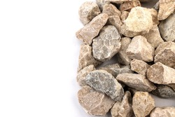 Gray small rocks ground texture isolated on white background. Small road stone. Gravel pebbles stone. crushed granite gravel, close up.