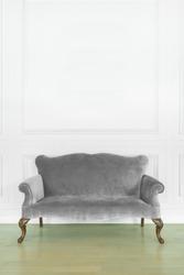 gray sofa in cozy room