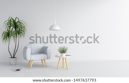 Gray sofa in white room and blank space for mockup, 3D rendering