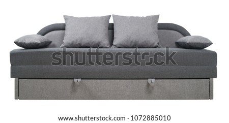 Gray sofa isolated on a white background. Gray sofa isolated on white include clipping path.                                #1072885010