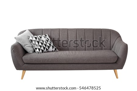 Gray soft sofa with 2 pillows. Modern design sofa isolated on white background #546478525