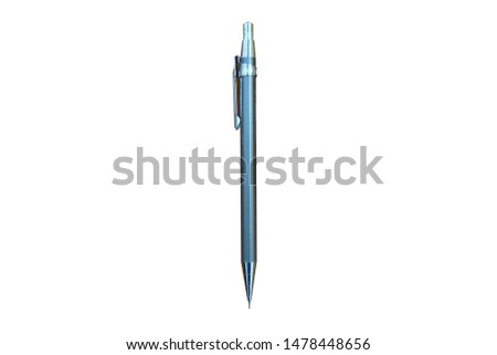 Gray stainless steel pencil.Gray stainless steel pen.