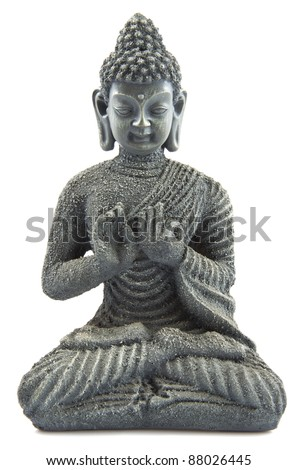 Gray stone budha on a white background