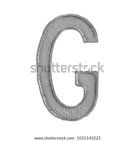 Gray stone or cement style uppercase or capital letter G in a 3D illustration with a rough rocky texture and rustic font isolated on a white background with clipping path. Stock fotó ©