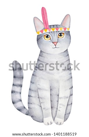 Gray striped cat character portrait with big yellow eyes and feathered headgear. Handdrawn watercolour graphic paint on white background, cutout artistic element for design, print, card, invitation.