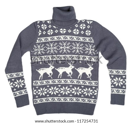 Gray sweater with a pattern of deer