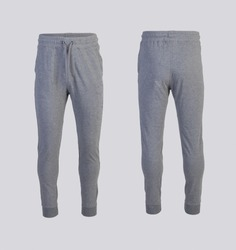 gray sweatpants Front and back view isolated on white background