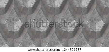 Gray textile and gray concrete panels with gray shane decor elements. High quality seamless design texture.