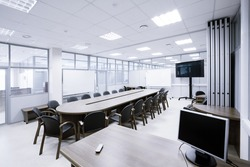 gray tonned meeting room