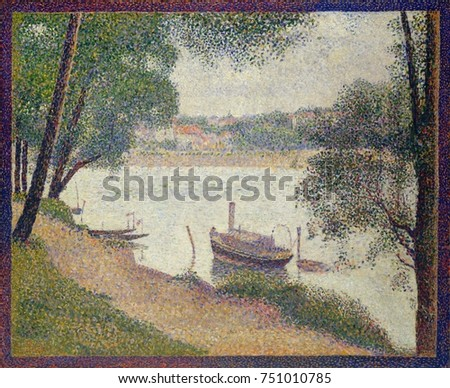 Gray Weather, Grande Jatte, by Georges Seurat, 1886-88, French Post-Impressionist, oil on canvas. View of the Seine River painted in Seurats Pointillist technique. The painted border was added shortl